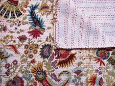 KANTHA BED SPREAD QUILT COTTON HANDMADE GUDARI KING SIZE BEIGE ANTIQUE FINE