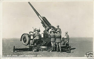 Original postcard real photograph military A.A. gun 3.7 in  WWII Valentines (A3)