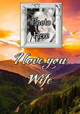 Personalised Photo Wife Graveside Memorial Card with Free Ground Stake F35