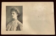 Real Photo VICTORIAN WOMAN Portrait~Lace, Pearls, Hairdo RPPC