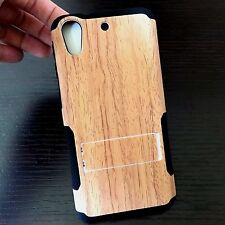 For HTC Desire 626 626S -HARD&SOFT RUBBER HYBRID CASE COVER BROWN PLASTIC WOOD