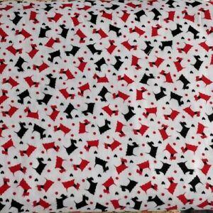 Scottie dog hound pet dotty cotton white quilting quilt fabric
