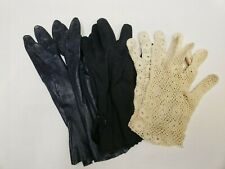 3 Pair Vintage Ladies Gloves Hand Crocheted Leather Cloth Lot 40s Estate Find