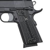 1911 Slim Grip G10 Full Size Big Scoop Mag Release Ambi Cut Grey Black H1S-J6S-5