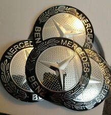 4 X Tapacubos De Rueda Mercedes Insignia Emblema Pegatinas Metal 56 mm de alta calidad Reino Unido
