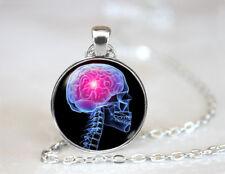 Vintage Skull Brain Dome Tibetan silver Glass Chain Pendant Necklace