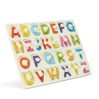 Wooden Alphabet Letter Jigsaw Puzzle Children Kids Educational Learning Toy