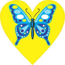 4x4 Blue Butterfly Heart Bumper Sticker Vinyl Cup Decal Car Window Stickers