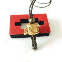 Tibetan Buddhist Copper Lotus 6 Mantra OM Prayer Wheel Amulet Pendant Necklace
