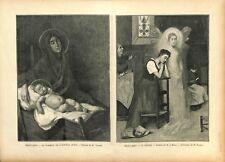 Le sommeil de l'enfant Jésus par Charles Léon Godeby Peintre ILLUSTRATION 1897