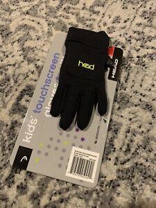 NEW! Head Junior Hybrid Gloves Sensatec Touchscreen, Medium (Ages 6-10), Black