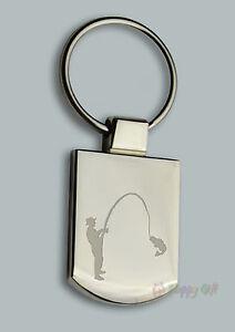Personalised FISH FISHING  Design keyring BOXED engraved Free - Metal Key ring