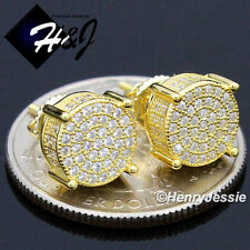 925 STERLING SILVER 8MM LAB DIAMOND ICED GOLD ROUND SCREW BACK STUD EARRING*G142