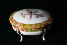 Antique André François Limoges gilded dish with cover, decor of paradisebird