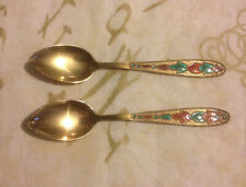 2 Soviet Russian Gilded Patterned Red Enamel Silver Tea Spoons marked 875