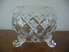 Art Deco Bohemia Diamond Cut Tri Footed Crystal Bowl Excellent Condition