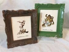 Vintage 1960s NU-DELL Pair Green and Brown Plastic Picture Frame Animal Similes