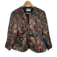 Georges Sydney Vintage Blouse Size 16 Floral Long Sleeve Button Closure V-Neck
