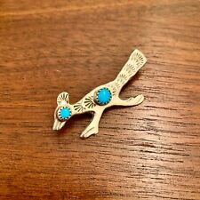 NATIVE AMERICAN STERLING SILVER DOUBLE TURQUOISE ROADRUNNER PIN