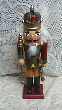 "15 1/2  ""  Wood  NUTCRACKER SOLDIER GUARD WITH SEPTOR  SWORD & CROWN"