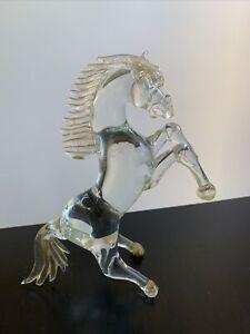 hand blown gold flek horse Italian Murano glass sculpture