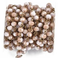 3ft Antique Pink BLUSH Crystal Rondelle Rosary Chain, bronze wire, 6mm fch0821a