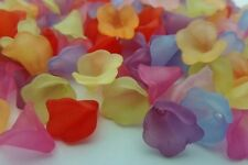 200 pce Colour Mix of Frosted Acrylic Calla Lily Flower Beads 10mm x 10mm