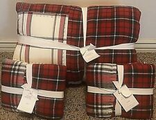 Pottery Barn Easton Plaid Patchwork King quilt 2 standard shams Red