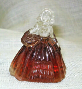 """Vtg Boyd Glass COLONIAL LADY Figurine 2.5"""" Tall"""