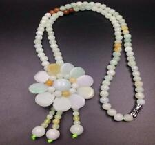 """Flower Necklace 22"""" inches Aa 100% Natural A Jade Jadeite Bead"""