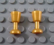 New LEGO Lot of 2 Pearl Gold Castle City Goblets Minifigure Accessories