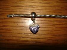 KAY JEWELERS CHARMED MEMORIES HEART DANGLE PURPLE SWAROVSKI ELE. STERLING SILVER