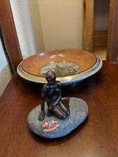 Royal Copenhagen Langelinie Trinket Tray and a Little Mermaid Brass Paperweight