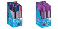 E&A 50 Assorted Black Blue Red Purple Ultra-Glide 1mm Medium Ballpoint Pens