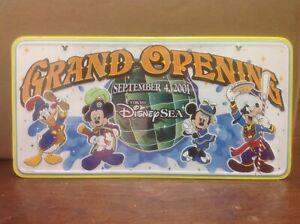 RARE WALT DISNEY LICENSE PLATE SINE TIN Grand Opening Tokyo Disney Sea LE 2001
