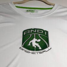 AND1 Basketball Men's Short Sleeve T Shirt 2XL XXL White Green Logo Crewneck