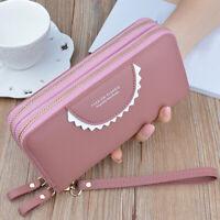 Large Capacity Wallet Double Zipper Women's Purse Clutch Card Holder Bag Lady