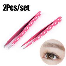 2Pcs Stainless steel Tip and Flat Heads Eyebrow Clip Eyebrow Tweezer Beauty