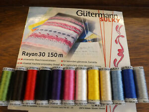GUTERMANN - Embroidery Thread - Rayon 150 M set of 12 bright mixed colours Sulky