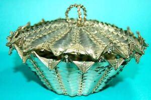 ORNATE Antique Woven Metal Basket / Trinket Box Marked  France 462  CHRISTOFLE ?