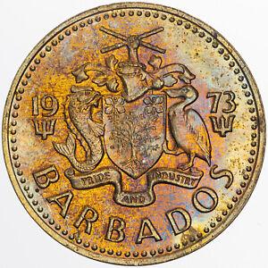 1973 BARBADOS 5 CENTS GORGEOUS MULTI COLOR TONED BU SUPERB CHOICE UNC (MR)