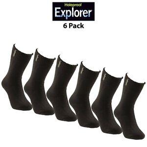 Mens Holeproof Explorer Socks Original Cotton Blend Full Terry Work 6 Pack S1130