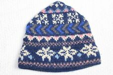 Ladies Knit Winter Hat Blue/Gray/White Wool Excellent