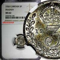 GREAT BRITAIN George V Silver 1926 3 Pence Maundy NGC MS62 KEY DATE KM# 813a