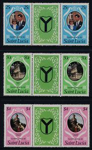 St Lucia 543-5 Gutter Pairs MNH Prince Charles, Princess Diana Royal Wedding