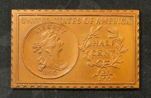 United States Draped Bust 1/2 Half Cent 1800 Numistamp Medal 1976 Mort Reed