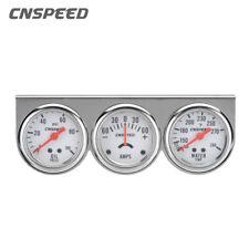 "2"" 52mm Oil Pressure Amp Meter  00006000 Water Temp Triple Gauge 3 in 1 Set Chrome Panel"