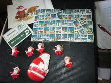Lot Vtg Plastic Christmas Santa Decorations Toys Ornaments STAMPS  HOLLY CARD