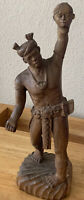"""Hand Carved Wooden Headhunter Statue 14"""" Bontoc Igorot Tribe Philippines Old"""