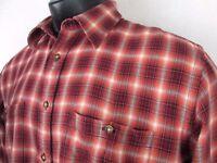 Orvis Flannel Shirt Brown Plaid Long Sleeve Large L 100% Cotton